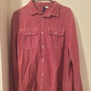 H &M red washed button down shirt